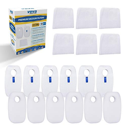 VEVA Premium Vakuum Filter Set mit 6Allergen, 6Schaumstoff, 6Filz Filter für Shark Rocket duoclean mit Ultralight Vakuum Modell hv380, 381, 382, 383und 384q