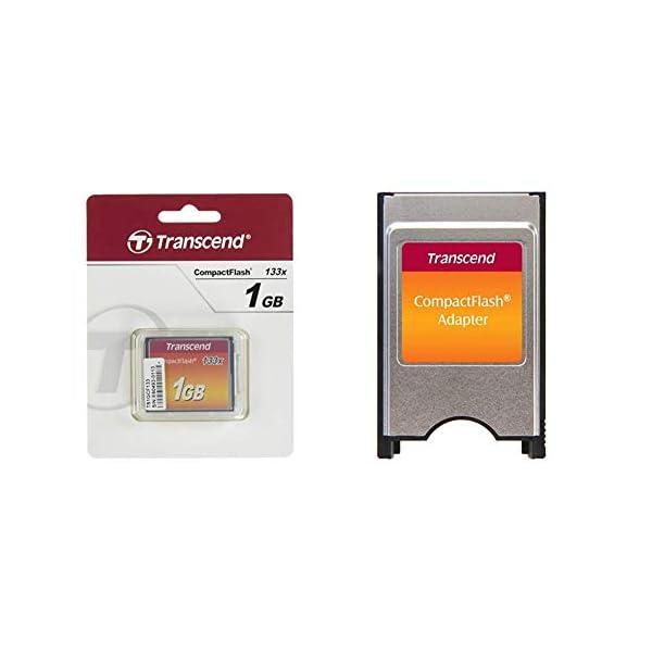 Transcend 133X - Tarjeta de Memoria CompactFlash de 1 GB + TS0MCF2PC - Adaptador para Tarjetas de Memoria Compact Flash…