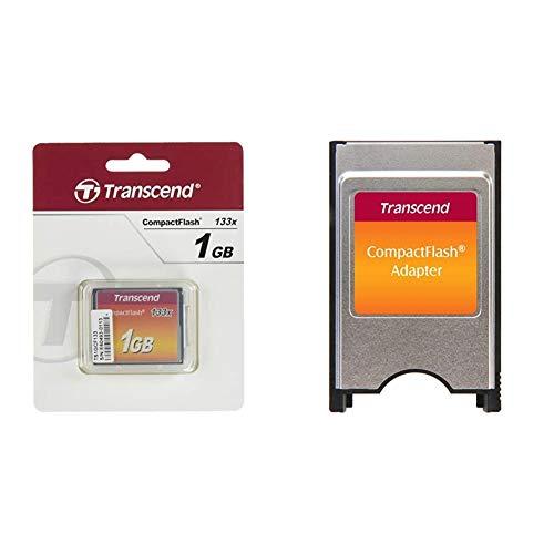 Transcend 133X - Tarjeta de Memoria CompactFlash de 1 GB + TS0MCF2PC - Adaptador para Tarjetas de Memoria Compact Flash (PCMCIA)