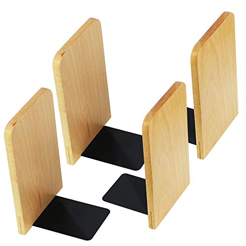 SNAGAROG 4 Stück Holz Buchstützen Winkelbuchstütze Rutschfestes Quadratisch Buchstützen für Zuhause, Büro, Schule, Bücherei, - Buchständer Rutschfest