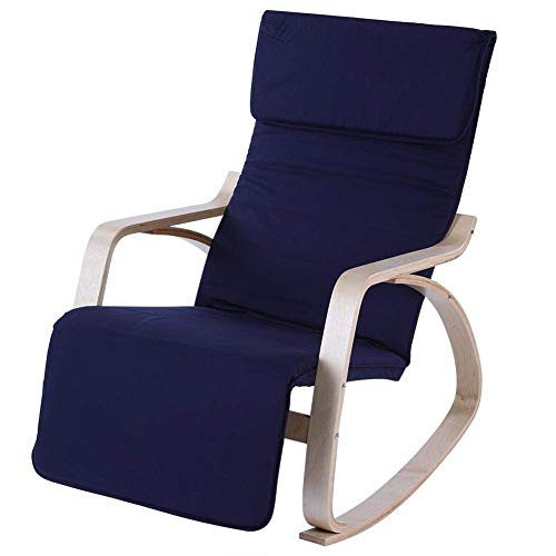 WEIZI Rocking chair birch rocking chair with footstool cotton cover rocking chair relax rocking chair comfortable rocking chair office home (blue)