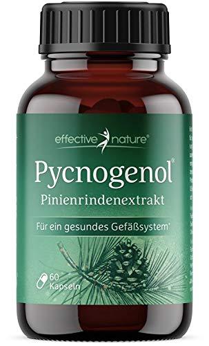 effective nature - Pycnogenol - Pinienrinden Extrakt - 50 mg Pycnogenol Pro Kapsel - Mit Vitamin C - Vegan Und Zusatzstofffrei - 60 Kapseln