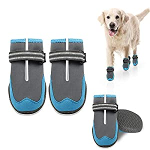 KEIYALOE Dog Boots, Protection Paw Dog Shoes with Adjustable Reflective Straps, Waterproof Dog Booties with Rugged Anti-Slip Sole for Small, Medium, Large Dogs