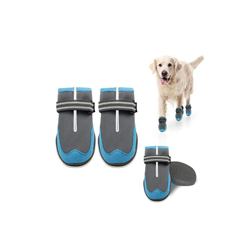 dog supplies online keiyaloe dog boots, protection paw dog shoes with adjustable reflective straps, waterproof dog booties with rugged anti-slip sole for small, medium, large dogs