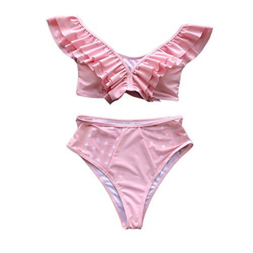 Hiigswim Traje de baño de 2 Piezas para Mujer Bikini Retro con Cuello Halter de Talle Alto (Color : Pink, Size : M)