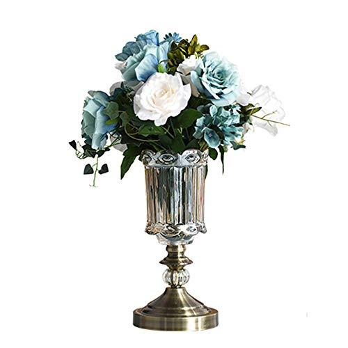CROWNXZQ Florero de Vidrio con decoración de Flores secas, arreglo de Flores Artificiales, Mesa de Comedor para el hogar de Estilo Europeo y decoración de la Sala de Estar, marrón