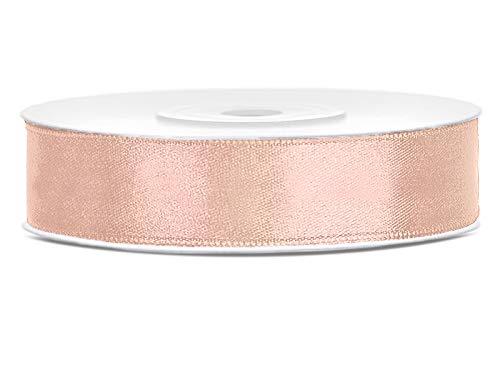 DaLoKu Satinband 6/12/25/38/50/100mm x 25m Geschenkband Schleifenband, Größe: 12mm x 25m, Farbe: Pfirsich
