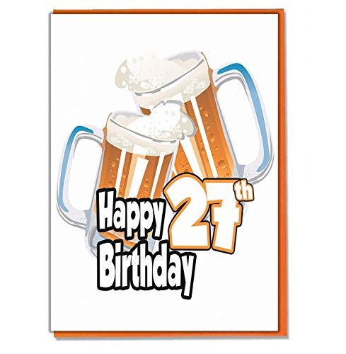 Biglietto Di Auguri Per 27° Compleanno – Birra Pinta – Uomo – Nipote – Papà – Fratello – Marito – Fidanzato – Nonno – Gramps – Nipote