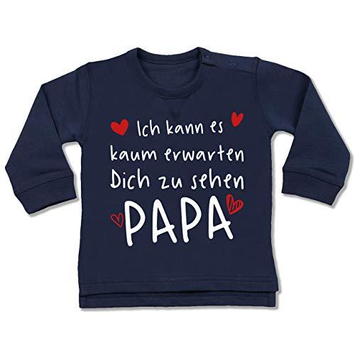 Shirtracer Vatertagsgeschenk Tochter & Sohn Baby - Ich kann es kaum erwarten Dich zu sehen Papa Herzen weiß - 6/12 Monate - Navy Blau - Geschenk - BZ31 - Baby Pullover