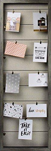 Gallery Solutions Bilderrahmen Collage mit Wäscheleinen und Klammern, Dunkelgrau, Außen: 38x115x5 cm