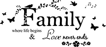 Blinggo Family Letter Quote Removable Vinyl Decal Art Mural Home Decor Wall Stickers