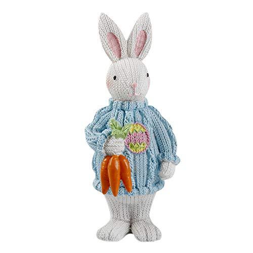 Kailya Easter Bunny Resina Effetto Lana Seduta in Piedi Postura Coniglio con Cesto Porta Uova Fiori da tavola Decorazioni da scrivania Ornamenti