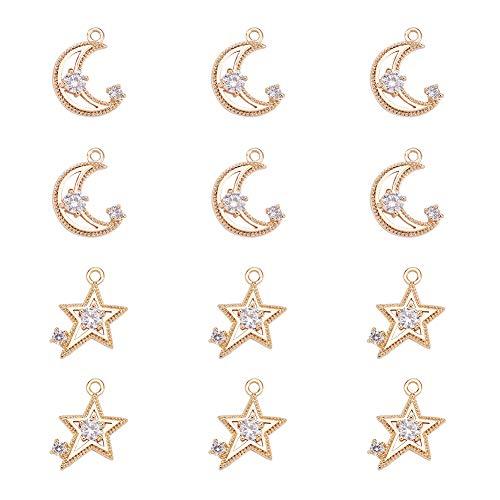 NBEADS Colgantes, 12 piezas Luna y Estrella latón chapado en oro colgante Charms con agujero para pendientes joyería manualidades