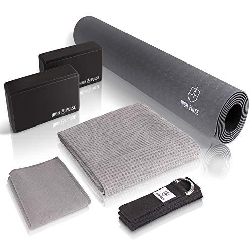 High Pulse® Yoga Set (6 TLG.) mit Yogamatte, 2 Yoga Blöcke, Yogagurt, Yogatuch mit Antirutsch-Noppen und extra Handtuch – Praktisches Yoga-Set für Anfänger und erfahrene Yogis