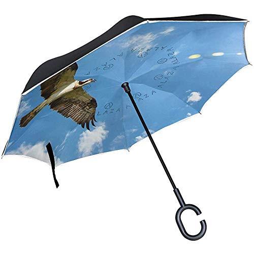 Wheatleya Western Osprey Reverse Taschenschirm Windproof UV Rain für den Außenbereich mit C-förmigem Griff