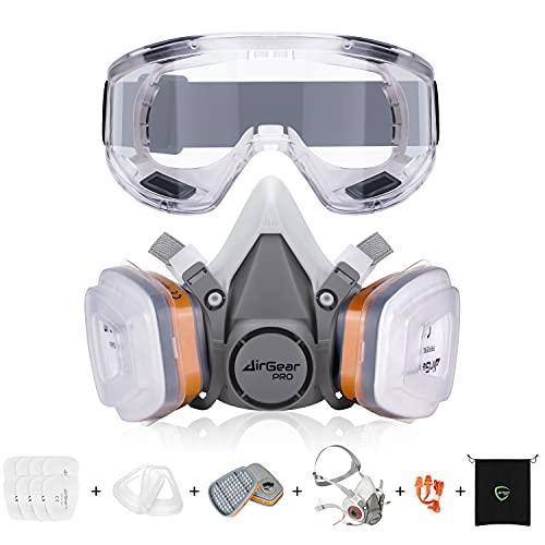 AirGearPro G-500 Masque de Protection Respiratoire Réutilisable, Anti poussière, Anti gaz avec Filtres et Lunettes de Protection pour Peinture, Travaux, Bricolage, Ponçage