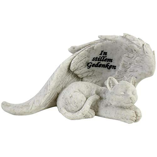 Gedenkstein für Katzen, schlafende Figur Katze, Engelsflügel, Gravur. 20 cm. 1 Stück