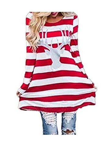 Mallcat Women Stripe Dress Christmas Elk Casual Dress (XXL)
