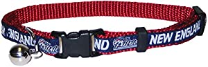 COLLAR for CATS - NFL NEW ENGLAND PATRIOTS CAT COLLAR. - Strong & Adjustable FOOTBALL Cat Collars with Metal Jingle Bell