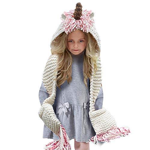 Tacobear Crochet Cartoon Unicorn Winter Hat with Scarf Pocket Hooded Knitting Beanie for Girls