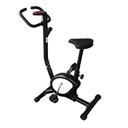 OUTAD Cyclette Casa Cyclette da Camera Cyclette Fitness Cardio con Display LCD, Confortevole Cuscino in Spugna e Braccioli, Altezza Della Sella Regolabile (Nero)