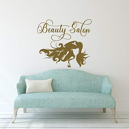 Letrero de belleza para salón de peluquería, pegatinas de pared, vinilo de papel de yeso, regalo de casa, sala de estudio, decoración simple personalizada, sin sabor, extraíble, 61 x 60 cm