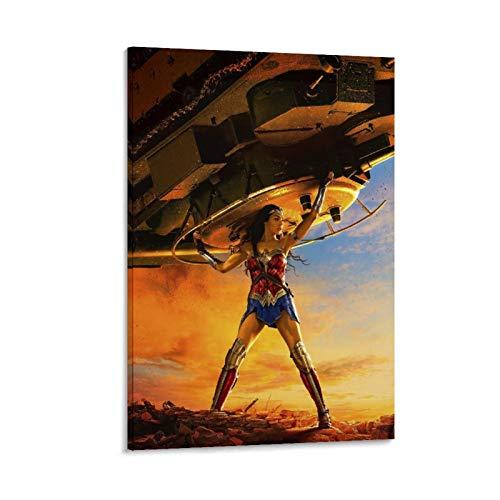 SSKJTC Lienzo único para pared con diseño de la Mujer Maravilla de Diana Gal Gadot con una nave espacial, 60 x 90 cm
