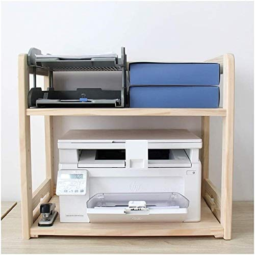 Estanteria Stands de impresora Soporte de impresora ajustable 2 Tier Wood Multifunction Storage Rack Organizador de escritorio multiusos para Fax Machine Scanner Archivos, Libros Estante de impresora