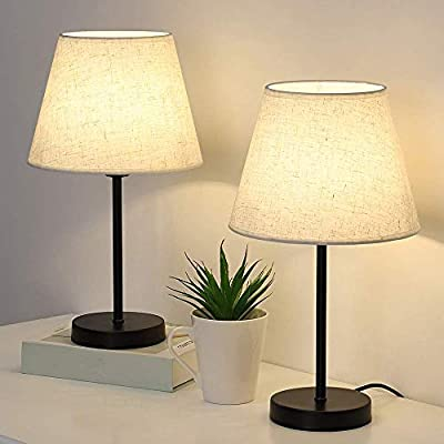Bedside Table Lamps Set of 2, Modern Nightstand Lamps Small Desk Lamps for Bedroom, Living Room, Office, Dorm, with White Linen Shade & Metal Base (Without Bulb)