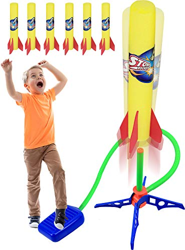 Kiddie Play Rocket Launcher for Kids to Stomp on with 6 Rockets Outdoor Toys Gift for Boys and Girls Ages 6 Years and Up