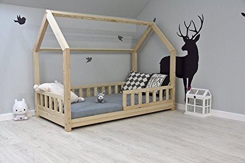 Best For Kids Kinderbett Hausbett Kinderhaus mit Rausfallschutz Jugendbett Natur Haus Holz Bett mit oder ohne 10 cm Matratze 8 Größen (80x160 mit Matratze)
