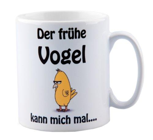 geschenke-fabrik Tasse mit Spruch Der frühe Vogel kann Mich mal. - lustig - Büro - Arbeit - Wurm