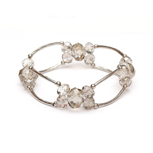 Idin Armband - Elastisches Armband in Gainsboro Farbe mit Messingröhrchen und Glassperlen