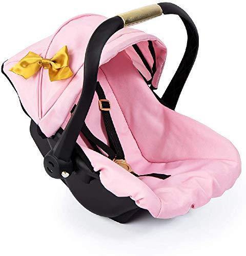 Bayer Design 67990AA Puppen-Autositz EasyGo, Puppenzubehör, passend zu Vario-Puppenwagen, mit Abdeckung, rosa, Gold mit Schleife