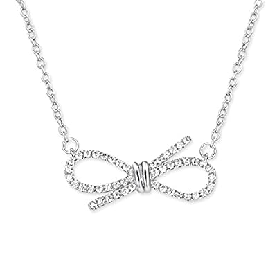 YALONG Bowknot Pendant Cubic Zirconia Necklace White Gold Plated Jewelry Gift for Women & Girls