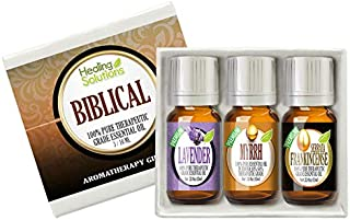 Biblical Set 100% Pure Therapeutic Grade Aromatherapy Essential Oil Gift: Myrrh Frankincense Lavender