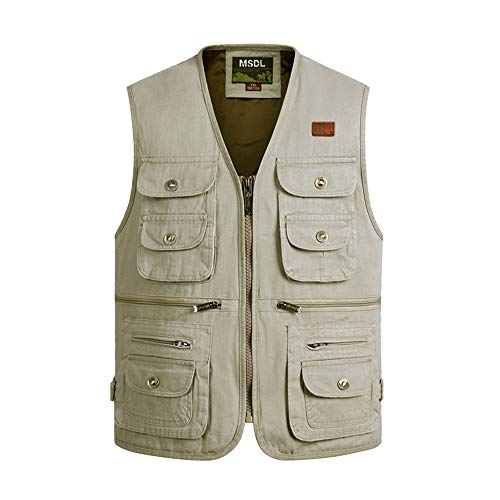BOZEVON Manteau sans Manches pour Hommes - Nouvelle Section Plus Taille Slim Gilet Multi-Poches - 4XL/Style 04