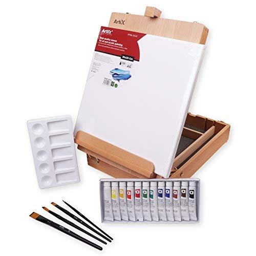 MP - Kit de Pintura 19Pzs con Maletin Caballete, Lienzo, Set de 12 Pinturas Acrílicas, 4 Pinceles y Paleta de Pintar