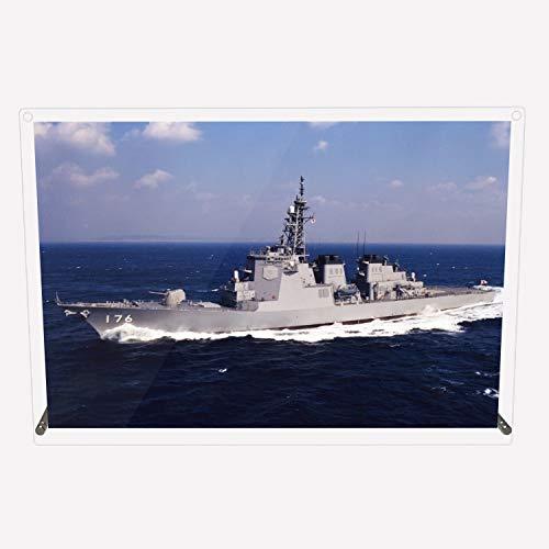 CuVery アクリル プレート 写真 海上自衛隊 護衛艦 DDG-176 ちょうかい デザイン スタンド 壁掛け 両用 約A3サイズ