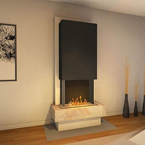 muenkel design Milano [modern design ethanolhaard]: Blanco (leisteen beige) - line Burner 500 - kap zwartgrijs