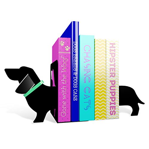 MUSTARD Bookends Metal for Shelves I Storage for Books, DVDs, CDs I Funny Gift idea for Men & Women I Stationery & Office Supply - Long Sausage Dog