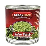 SABORMEX Salsa Mexicana Verde Con Tomatillo Verde, Salsa típica de la Comida de México, Bote de 215 gr