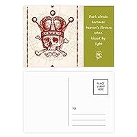 クラブ赤クラウン骨格のポーカーのカード・パターン 詩のポストカードセットサンクスカード郵送側20個