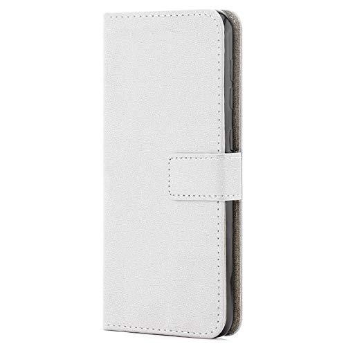 zanasta Ledertasche kompatibel mit Huawei Y5 2018   Schutz-Hülle Flip Hülle Magnetverschluss Wallet Weiß