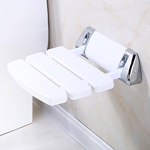 ZYDSD Taburete de baño montado en la pared Banco de la ducha Zapatos for cambiarse Taburete antideslizante Plegable en el pasillo Silla Baño Aseo Ducha Asiento Silla-Blanco, 33.8 * 34.8 * 10cm Silla d