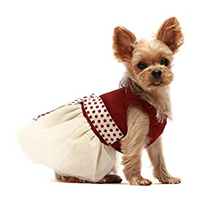 Fitwarm Retro Polka Dot Dog Dresses for Pet Clothes Party Birthday Puppy Doggie Tutu Dress Red Small