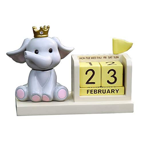 ZNZN Calendario de Escritorio Mini Calendario De Escritorio Elefante Bebé Calendario Perpetuo Lindo Calendario De Animales para Niños Regalos Calendarios (Color : Elephant)