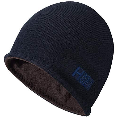 HASAGEI Mütze Herren Wintermütze Strickmütze Beanie Mütze Fleece Reversibel Winddicht Warm (Blau-braun)