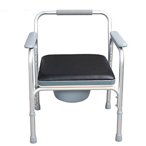 MMM@ Commode chaise avec siège de toilette rembourré anti-dérapant hauteur réglable salle de bain douche Tabouret personne âgée/femme enceinte/personne handicapée pot chaise alliage d'aluminium