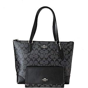 Fashion Shopping New Coach C Signature Purse Hand Bag Tote & Wallet Matching 2 Piece Set Black